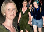 Cynthia Nixon dons olive high-low frock alongside blue-haired daughter Samantha for King Lear in Central Park