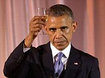 President Obama toasts his guests during the dinner held on the White House South Lawn