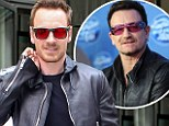 Michael Fassbender embraces his inner Bono in rose-coloured sunglasses and leather jacket as he hits the promo trail for new movie Frank in New York