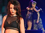 EXCLUSIVE: Eminem and Rihanna perform the 1st night of their Monster Tour at the Rose Bowl in Pasadena, Ca  Pictured: Rihanna and Eminem Ref: SPL816745  080814   EXCLUSIVE Picture by: GoldenEye /London Entertainment  Splash News and Pictures Los Angeles: 310-821-2666 New York: 212-619-2666 London: 870-934-2666 photodesk@splashnews.com