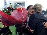 Bunch: Brest's coach Alex Dupont  offers flowers to Diacre before the first game of the season kicked off