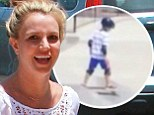 'Just do it, baby!' Britney Spears cheers on son Jayden, seven, as he teeters on the edge of a skateboard ramp in Instagram video clip