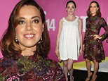 Aubrey Plaza captivates in a floral lace dress next to lovely-in-white Rose McGowan at Life After Beth screening in LA