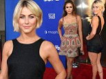 A tale of two outfits: Julianne Hough sports peplum playsuit while BFF Nina Dobrev is pretty in patterns at Let's Be Cops premi?re