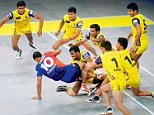 Delhi(Delhi Dabang in Blue ) VS Vizag (Telgu dabangin Yello) Kabaddi match in New Delhi on Sunday 03/08/2014 Photo By Qamar sibtain