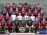 FC Bayern Munich players pose during an official photo shooting for the new German first division Bundesliga season, in Munich, southern Germany, Saturday, Aug. 9, 2014. First row from left: Rafinha, Franck Ribery, Pepe Reina, Manuel Neuer, Tom Starke, Arjen Robben and Philipp Lahm. Second row from left: David Alaba, Mitchell Weiser, Toni Tapalovic, Hermann Gerland, Pep Guardiola, Domenec Torrent, Mario Goetze and Julien Green. Third row from left: Claudio Pizarro, Pierre Hojbjerg, Sebastian Rode, Thomas Mueller, Juan Bernat, Thiago Alcantara and Xherdan Shaqiri. Fourth row from left: Holger Badstuber, Jerome Boateng,  Javier Martinez, Dante, Bastian Schweinsteiger and Robert Lewandowski. (AP Photo/Matthias Schrader)