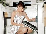 Audrey Hepburn prepares her breakfast on a Sunday morning..   https://www.facebook.com/HistoryInColor Colourised pic MUST CREDIT DANA KELLER Original pic in the system also