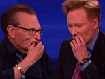'I'll take a bite if you take a bite!' Conan O'Brien and Larry King share a pot brownie on his TBS talk show