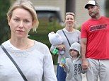 2721212 We are family! A barefaced Naomi Watts and Liev Schreiber take their sons and pup out for a weekend stroll after returning from Mexican getaway