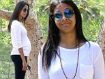 Blooming lovely! Pregnant Zoe Saldana shows off her burgeoning bump in form-fitting sportswear for Beverly Hills hike