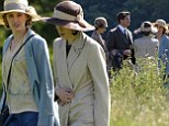 They're back! Michelle Dockery and Laura Carmichael are back in character as they join rest of the cast to film new scenes for Downton Abbey at Alnwick Castle