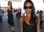 10 Aug 2014 - LOS ANGELES - USA  VICTORIA BECKHAM LOOKING STUNNING IN A BLACK DRESS AT LAX BYLINE MUST READ : XPOSUREPHOTOS.COM  ***UK CLIENTS - PICTURES CONTAINING CHILDREN PLEASE PIXELATE FACE PRIOR TO PUBLICATION ***  **UK CLIENTS MUST CALL PRIOR TO TV OR ONLINE USAGE PLEASE TELEPHONE  44 208 344 2007 ***