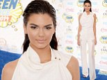White hot! Kendall Jenner shuns colour to stand out and shine at the Teen Choice Awards