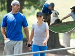 Bachelorette stars Andi Dorfman and Josh Murray take a stroll in the park with dog Sabel