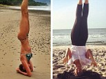 Yoga copycat! Gisele Bundchen posts headstand pose on beach one day after Hilaria Baldwin... but Alec's wife uses NO hands for support