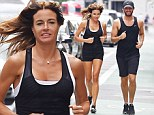Kelly Bensimon shows off her toned physique in clingy workout gear while jogging with boyfriend Alejandro Lorenzo