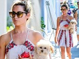That's one way to walk your dog! Ashley Tisdale carries her pooch Maui during a summery stroll