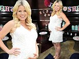 One hot mama! Smash star, Megan Hilty glows in a summery white dress as she celebrates with friends and family at her baby shower in New York