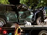 Aftermath: A family of four was killed in Texas after Juan G. Ahuezoteco, 23, ran a red light and struck his Dodge Durango (pictured) into the family's Honda Accord