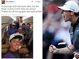 The 25-year-old and his entourage boarded a flight to New York after he sealed a thrilling, weather-affected climax to the championship, in Valhalla, on Sunday