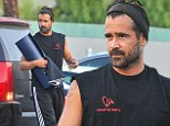 Hello, muscles! Colin Farrell shows off his buff biceps and scruffy beard as he heads to a yoga class in Santa Monica