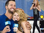 She's not eating fried chicken! Connie Britton, 47, shows off her thin figure as she belts out a country song for TV's Nashville with Luke Bryan