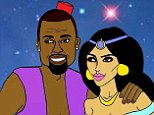 A whole new world: Kanye and Kim have been drawn as Aladdin and Princess Jasmine