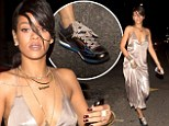 Rihanna teams gorgeous plunging silver gown with colourful metallic sneakers on night out at her favourite Italian restaurant