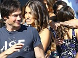 Happy couple: Ian Somerhalder and Nikki Reed arrived together to the Teen Choice Awards at the Shrine Auditorium in Los Angeles on Sunday