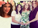 Alyssa Milano beams as she attends her baby shower while donning a flower crown