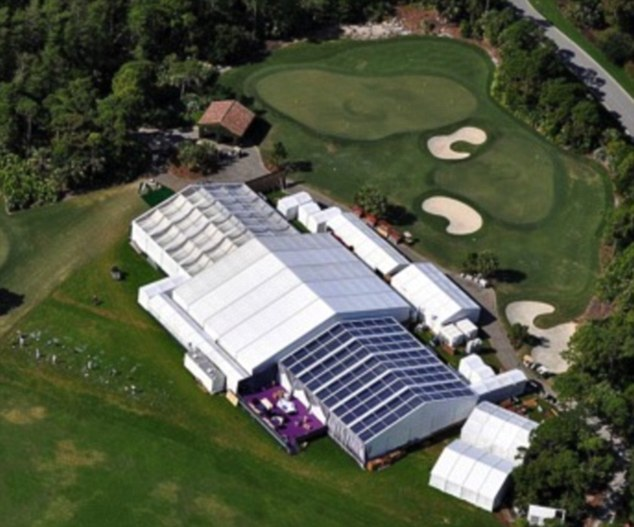 Party: The tents were set up at the golf course at the Bears Club in Jupiter, Fl., just feet away from Jordan's sprawling mansion