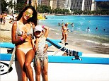 'With my mini me!' Alessandra Ambrosio and her adorable five-year-old daughter Anja sport matching bikinis in Hawaii