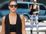 Jessica Alba, born in 1981, was spotted flaunted her tiny waist in an '80s inspired ensemble in Manhattan on Monday