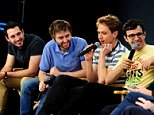 (left to right) Blake Harrison, James Buckley, Joe Thomas and Simon Bird seen during the Meet The Filmmakers:The Apple Store session in London. PRESS ASSOCIATION Photo. Picture date: Thursday July 31, 2014.  Photo credit should read: Ian West/PA Wire