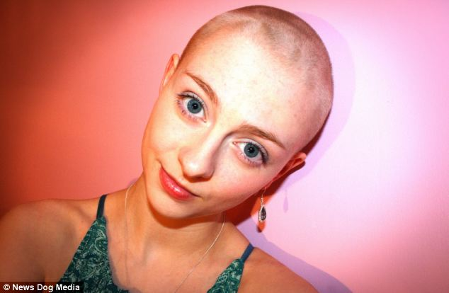 Ms Brown started pulling her hair out at the age of 12 and by the time she was 16 she was nearly bald. When she was 19 the condition got so bad she was forced to shave her head completely (pictured)