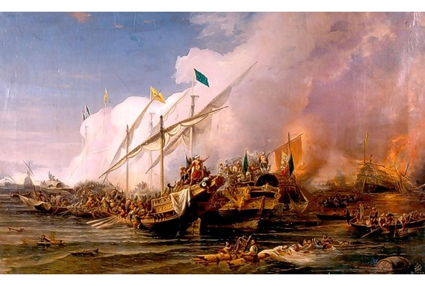 Above: A painting entitled Battle with Barbary Pirates, 1538, shows the kind of bombardment Westcountry communities faced. Left: English captives witnessed by a sea captain in Algiers, 1815. And below: Ian Hernon's book, Fortress Britain