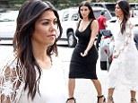 It's not Halloween yet! Kourtney Kardashian dons bizarre spider web dress on Hamptons outing with Kim