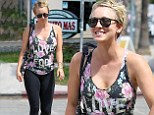 That must have worked! Kaley Cuoco smiled as she left yoga class wearing a 'love fool' blouse in Sherman Oaks, California Monday