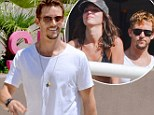 True bod! Ryan Kwanten shows off his impressive guns in white tank top as he cuddles with girlfriend Ashley Sisino at Palm Springs pool festival
