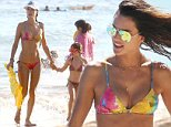 Picture Shows: Alessandra Ambrosio, Anja Mazur  August 11, 2014    Victoria's Secret model Alessandra Ambrosio and her family enjoy a day on the Waikiki Beach in Honolulu, Hawaii. Alessandra and her daughter Anja wore matching bikinis as they went swimming in the warm clear waters.    Exclusive All Rounder  UK RIGHTS ONLY  Pictures by : FameFlynet UK    2014  Tel : +44 (0)20 3551 5049  Email : info@fameflynet.uk.com