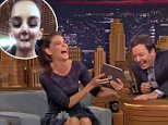 "12 August 2014 - Los Angeles - USA  **** STRICTLY NOT AVAILABLE FOR USA ***  Katie Holmes pulls funny faces with Jimmy Fallon on The Tonight Show. The actress agreed to play the new game Tonight Show Photo Booth with Fallon, which saw the pair see who could pull the funniest face with the help of an iPad app. Holmes collapsed into giggles as she did her first photo, telling Fallon: ""It's so bad!"" The pair couldn't stop laughing as they tried several different photo styles, all looking worse than the previous one and with Fallon at one point claiming his photo looked like a 'weird Conan O'Brien'.    XPOSURE PHOTOS DOES NOT CLAIM ANY COPYRIGHT OR LICENSE IN THE ATTACHED MATERIAL. ANY DOWNLOADING FEES CHARGED BY XPOSURE ARE FOR XPOSURE'S SERVICES ONLY, AND DO NOT, NOR ARE THEY INTENDED TO, CONVEY TO THE USER ANY COPYRIGHT OR LICENSE IN THE MATERIAL. BY PUBLISHING THIS MATERIAL , THE USER EXPRESSLY AGREES TO INDEMNIFY AND TO HOLD XPOSURE HARMLESS FROM ANY CLAIMS, DEMANDS, OR CAUSES OF ACT"