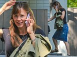 Jennifer Garner goes casual in a denim skirt and black top as she is seen visiting properties in Beverly Hills