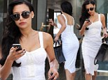 Newly married Glee star Naya Rivera, 27, was spotted heading to a business meeting in Beverly Hills in a white lace dress and floral heels on Wednesday