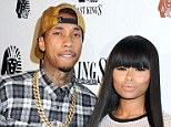 It's over: Kim Kardashian's best friend Blac Chyna (right) and fiance Tyga have split, pictured in LA in February