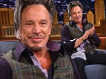 All dressed up: Mickey Rourke donned a dress shirt and vest for his appearance on Tuesday on The Tonight Show Starring Jimmy Fallon in New York City