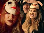 Khloe Kardashian wears freaky mask as she guest stars in love interest French Montana's new video... and threatens Kim-lookalike with a crossbow