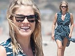Thighly impressive! Pregnant Ali Larter shows off her lovely legs and burgeoning baby bump on beach in Los Angeles