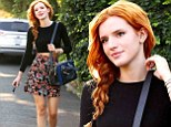 Stylish supper: Bella Thorne donned a chic Sixties-inspired ensemble a she picked up dinner at Blaze Pizza on Los Angeles on Tuesday