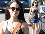 Keeping fit: Jordana Brewster showed her athletic frame in shorts and a tank-top on Wednesday as she left a gym in West Hollywood, California