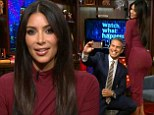 Reality star: Kim Kardashian made a visit to the clubhouse on Tuesday for a chat with Andy Cohen on Watch What Happens Live